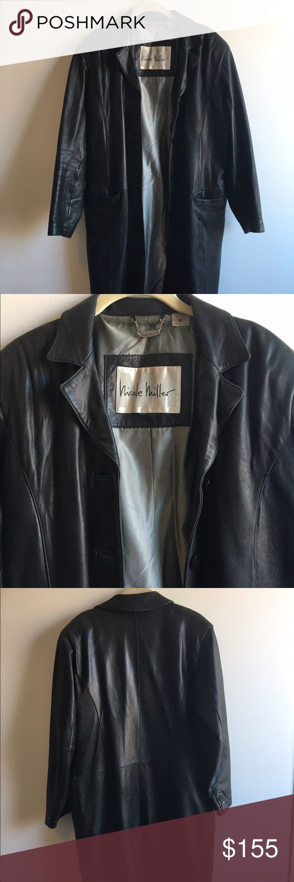 Nicole Miller Genuine Leather Trench Coat This designer trench coat is 100% leather in great condition. Very 90s but timeless classic piece. Goes with literally everything. Nicole Miller Jackets & Coats Trench Coats