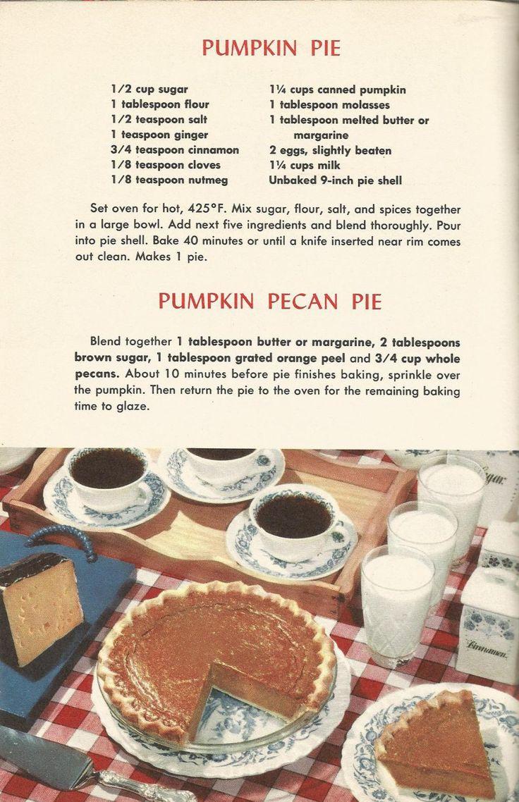 Pumpkin Pecan, Vintage Pie Recipes, 1950s Pie Recipes