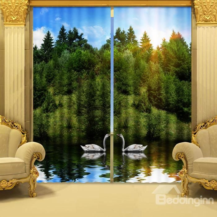 Amazing Beautiful Green Trees and Swan 3D Curtains on sale, Buy Retail Price 3D Curtains at Beddinginn.com