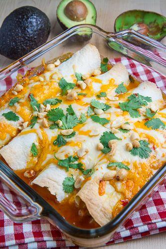 Sweet Chili Chicken and Avocado Enchiladas
