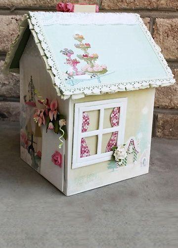 шкатулка-домик   a very cutely decorated cardboard house