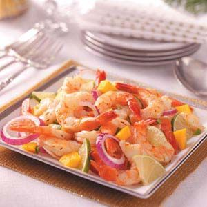 Jamaican Shrimp, I've made this a bunch of times and EVERYONE loves it, garnish platter with green leaf lettuce for a more colorful presentation. use mango's dont sub for peaches!