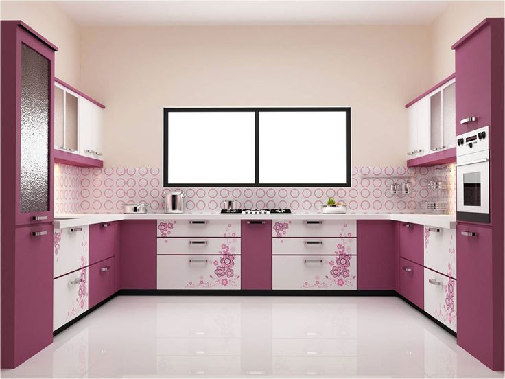Stunning U Shaped Purple Kitchen Ideas Plus Polka Dot Backsplash feat  Single Wall Oven with Contemporary Window Design
