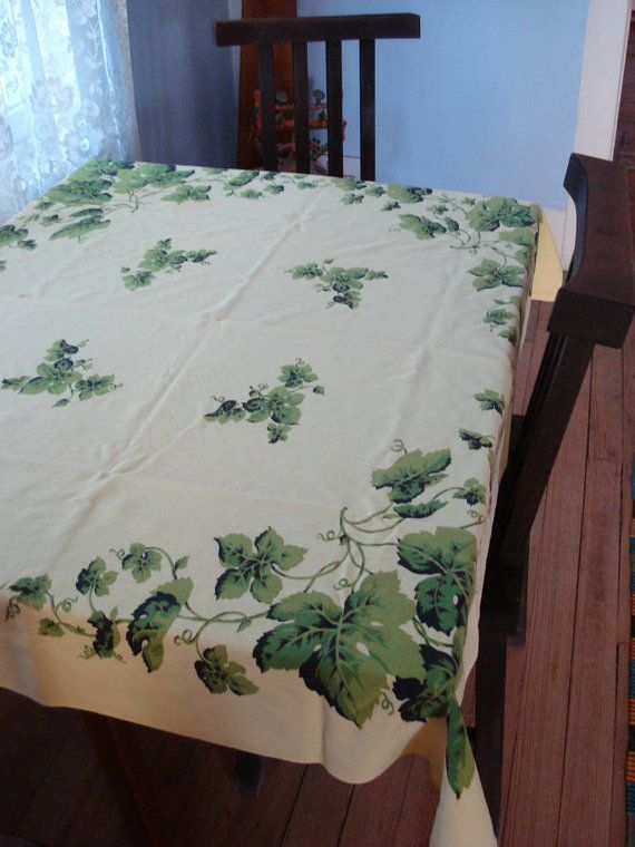 Vintage 1950s Mid Century Tablecloth Square Grape by bycinbyhand, $36.00