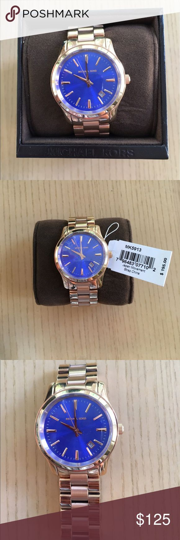 Michael Kors Rose Gold/Blue Watch Michael Kors rose gold and blue watch. Never been worn with tags. Extra links and box included. Needs a new battery due to sitting with no use. 💙 MICHAEL Michael Kors Accessories Watches