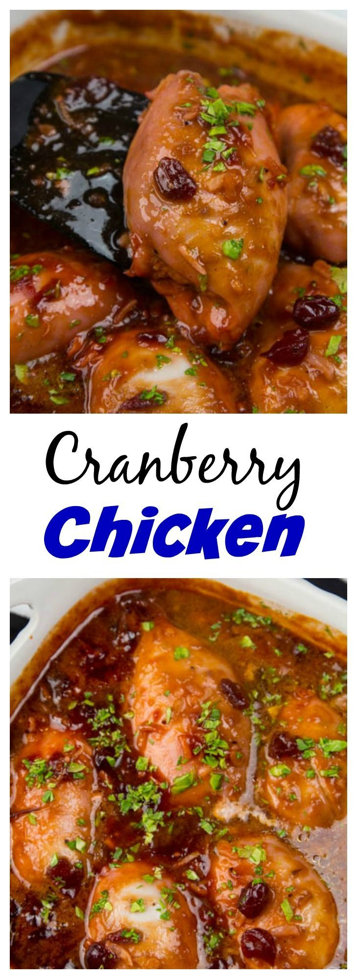 Easy Cranberry Chicken – Moist and tender baked chicken in a tangy cranberry sauce. Great, comforting dinner on busy nights.