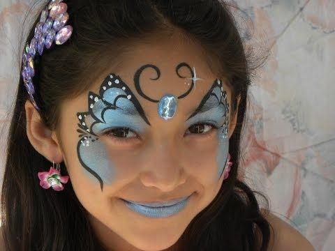 PINTACARITAS DE MARIPOSA AZUL.- FACEPAINTING BLUE BUTTERFLY - YouTube