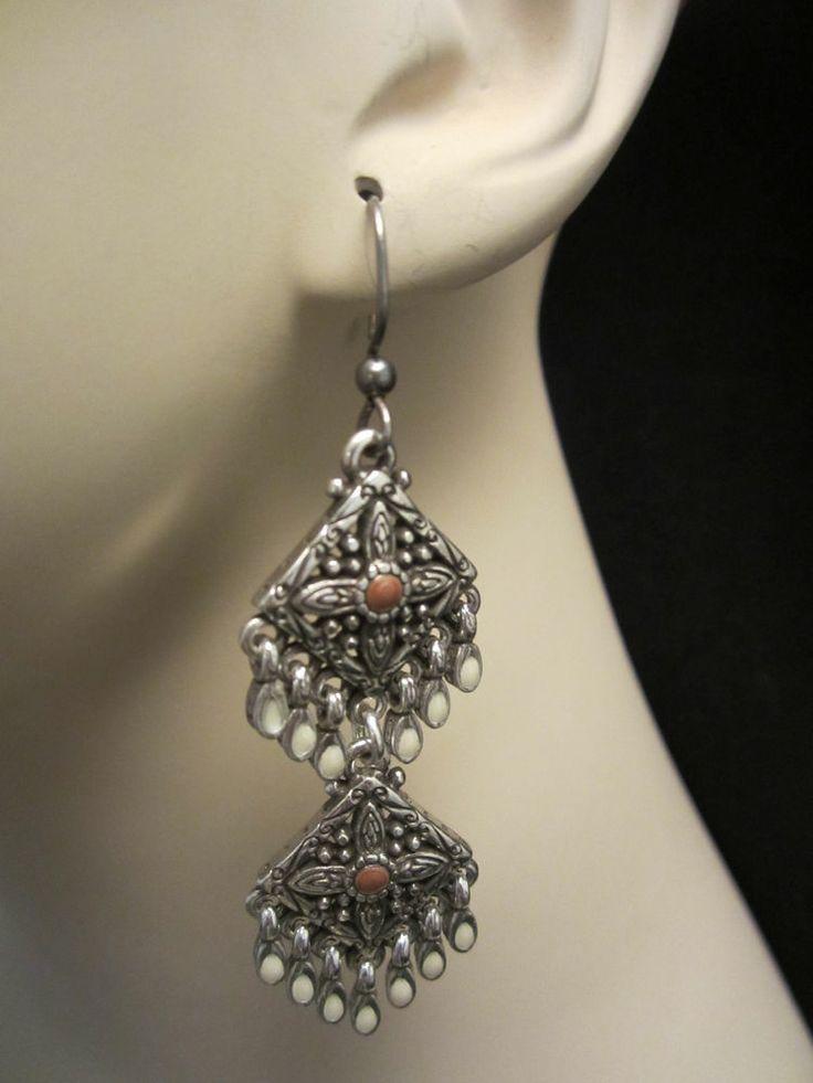 Brighton 2 1 Silver Tone Enamel Tassel Pierced Chandelier Earrings A51