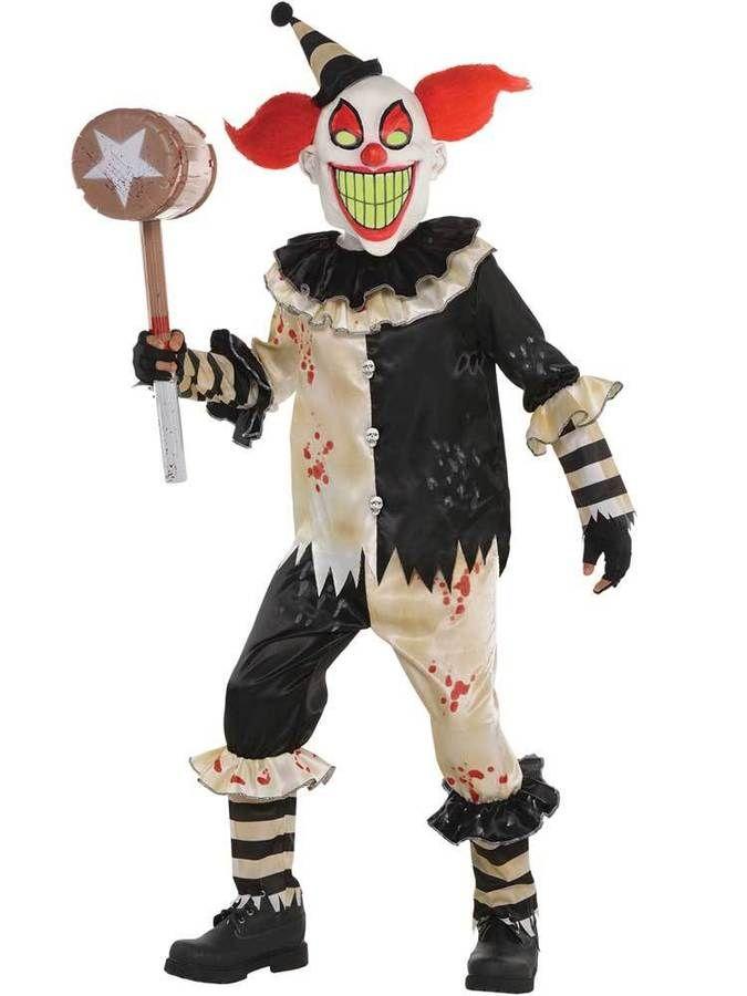Boys Horror Clown Costume Child Halloween Carnival Nightmare Fancy Dress Scary