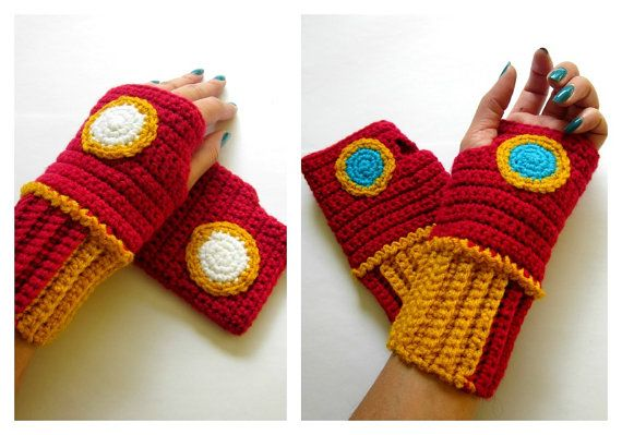 Original Iron Man Inspired Geeky Gauntlets. Wristwarmers. Superhero Fingerless Gloves. Super Hero Series. Crochet Avengers Marvel Cosplay B.