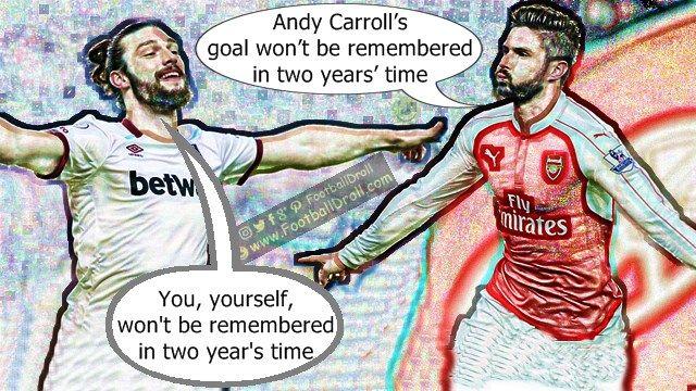 Olivier Giroud Says his Scorpion Kick Goal is better than Andy Carroll's #Giroud #Carroll #Wenger #Arsenal #Liverpool #Mourinho #Chelsea #EPL #Guardiola #Messi #Barcelona #Ronaldo #Neymar #FCBarcelona #Jokes #Comic #Laughter #Laugh #Football #FootballDroll #Funny #CR7 #FCBLive #ForçaBarça #LaLiga #RealMadrid