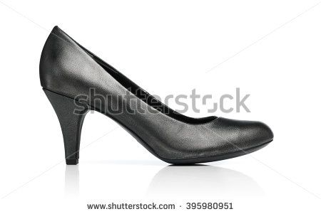Ladies dark grey pump shoe isolated on white with reflection. - stock photo