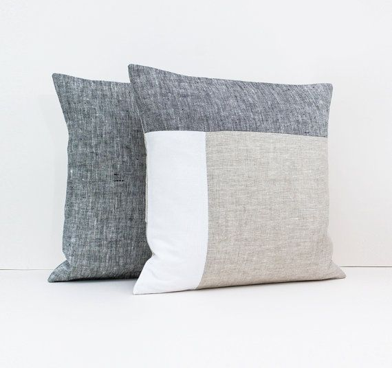 Linen Color Block Pillow Cover Set In Dark Gray Beige And White