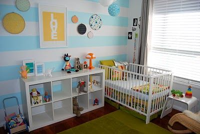 Love the colors and the stripes...I got the little ikea cloud lamp in green for my new baby's room.