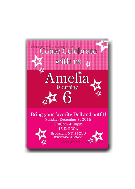 40 best american girl party images on pinterest | american girl, Birthday invitations