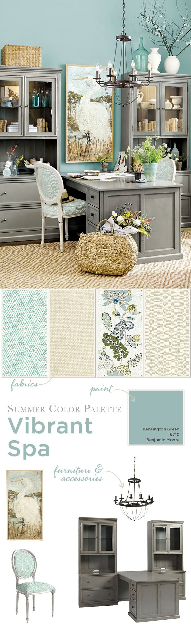 Coastal color palette in a home office