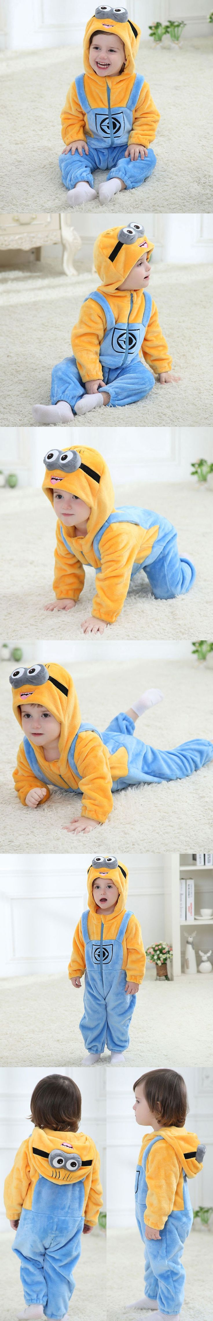 Minions Baby Clothes Romper Infant Costume 2016 New Spring Hooded Flannel Toddler Romper Infant Jumpsuit Clothing Baby Costume $22.18