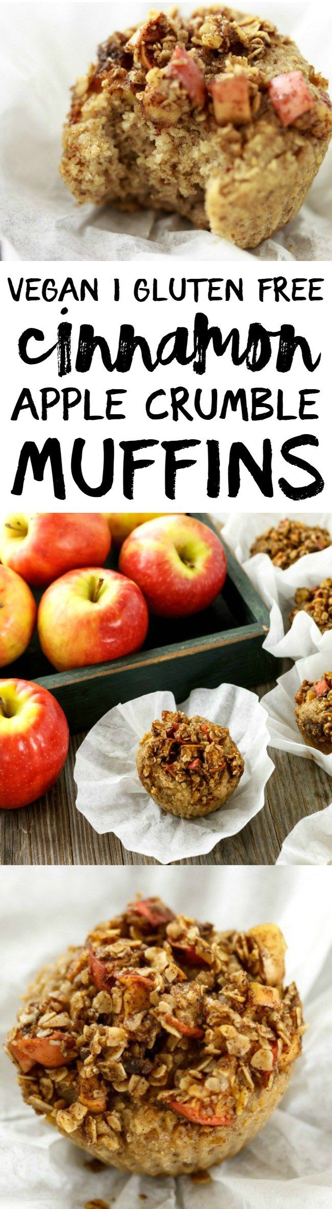 Make a batch of these Cinnamon Apple Crumble Muffins and have easy, delicious breakfasts and snacks at your fingertips! Vegan, gluten free, healthy!