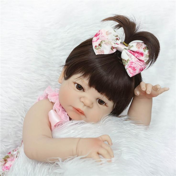 "22"" full body silicone reborn baby dolls blue/brown eyes optional can enter water children doll gift bebe alive reborn bonecas"