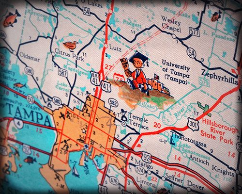 University of Tampa UT college retro map by RetroSeaShoreDecor, $25.00