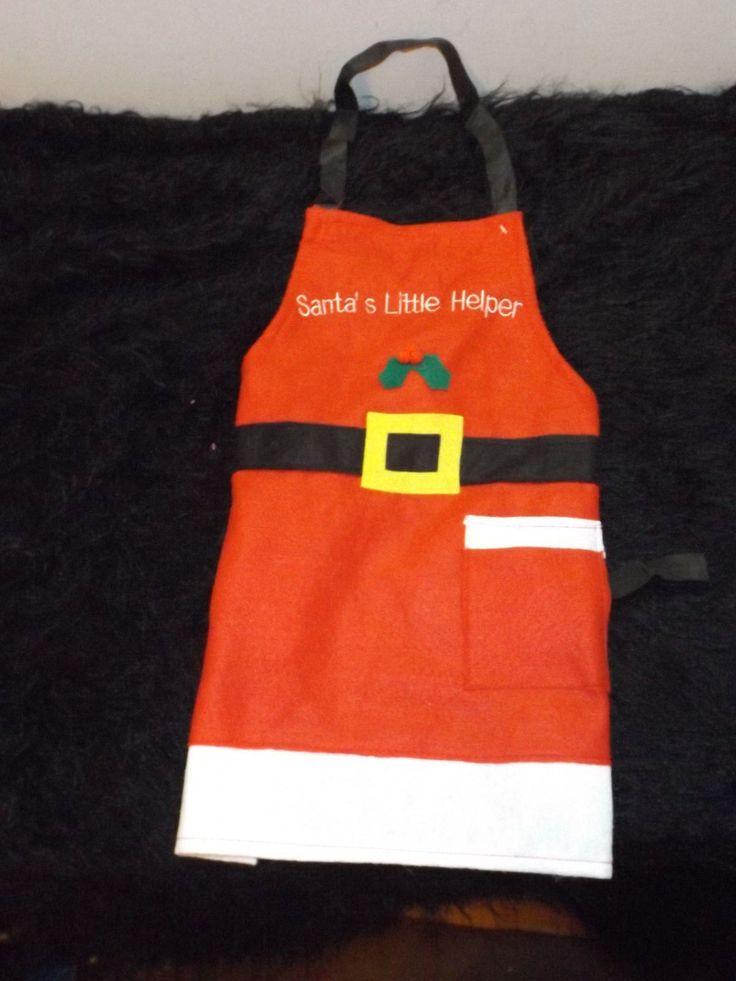 Children's Santa's Little Helper Christmas Felt Apron Holiday 1 Size Kid