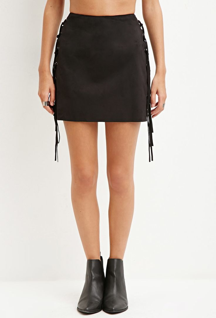 Faux Suede Fringe Mini Skirt