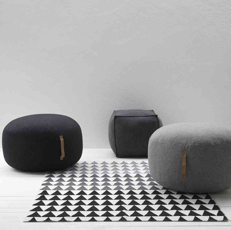 Design Vintage Grey Wool Pouffe Grey Felt Pouf