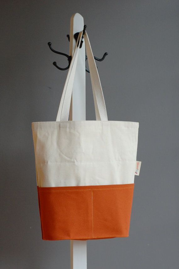 Set of colour block canvas tote bag 100% organic by HeyPomelo