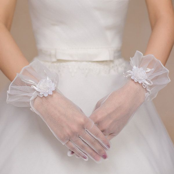 Beautiful Bride Full Fingers Lace Gloves Decorative Flowers Wedding Dress Accessories