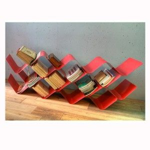 VAGUE standing shelf (red or white). Designed by La nomade du Design. Available at Darwin's Home on http://www.darwinshome.com/en/storage-equipment/760-vague-standing-shelf.html