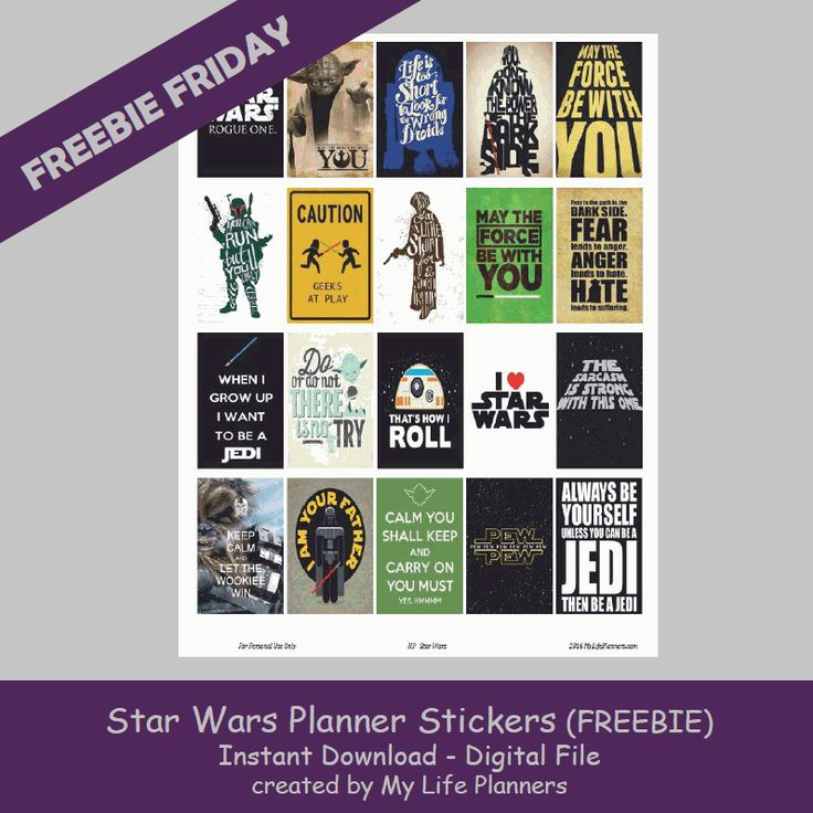"""Today is the official release date for the """"Rogue One: A Star Wars Story"""" movie in the theaters. To satisfy my geeky nerdside and because my son asked for them, Freebie Friday is featuring Star Wars Quote Planner Stickers. I hope you enjoy the stickers and may the force be with you. These stickers willRead More"""