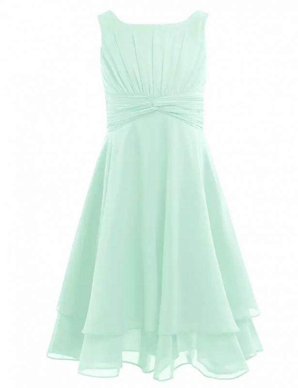 Ongebruikt Feest jurk chiffon knielengte knotted mint groen (met afbeeldingen YD-54
