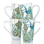 222 Fifth Holiday Drinkware, Set of 4 Lakshmi Peacock Latte Mugs