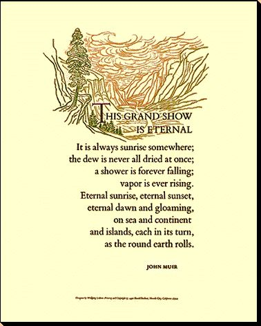 John Muir 'This Grand Show is Eternal' Quote Poster