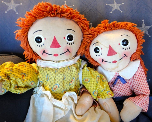 Vintage Canadian Raggedy Ann Andy Dolls Made by Reliable Canada Circa 1960