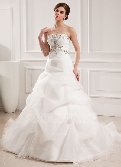 Wedding Dresses - $216.99 - Ball-Gown Sweetheart Chapel Train Organza Satin Wedding Dress With Embroidered Ruffle Beading (002008182) http://jjshouse.com/Ball-Gown-Sweetheart-Chapel-Train-Organza-Satin-Wedding-Dress-With-Embroidered-Ruffle-Beading-002008182-g8182