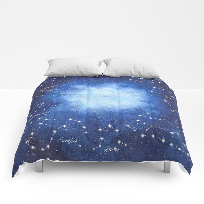 Cosmic Horoscope Comforters   #space #zodiac #signs #horoscope #universe #galaxy #nebula #stars #constellations #watercolor #painting #night #buy #buyonline #shopping #giftidea #present #society6 #duvetcover #duvet #home #decor #decoration #bedroom