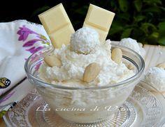 crema Raffaello ricetta base per una crema golosissima a base di cioccolato bianco, mandorle, cocco, panna e mascarpone. ricetta crema golosa facile da fare