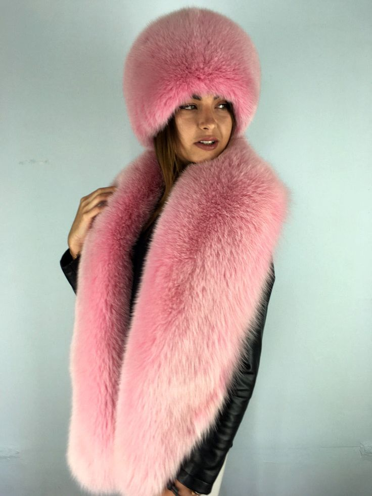Dyed Arctic Fox Fur Boa + Full Hat. Stole is 70' Inch. Collar and Hat Set. SAGA | eBay