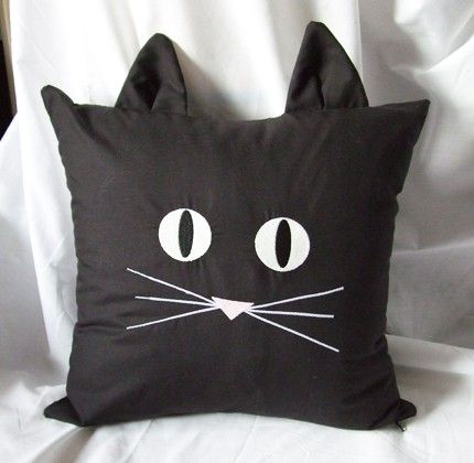 This is sooooo cute!  Black Cat Face Pillow Cover Embroidered Glow In Dark