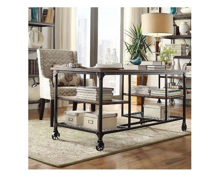Computer Desks For Home Office Modern Rustic Mobile Storage College Dorm Study #TribeccaHome #Industrial