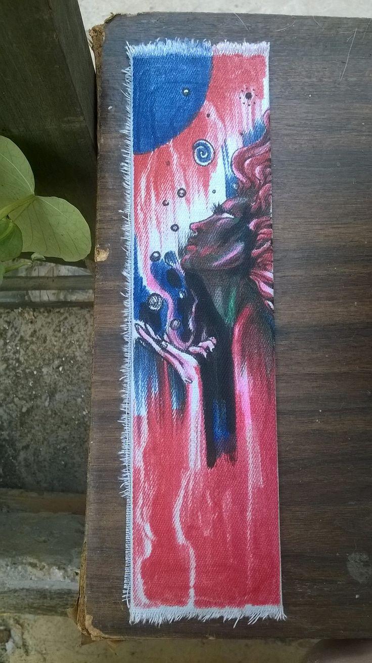 fabric bookmark handpainted
