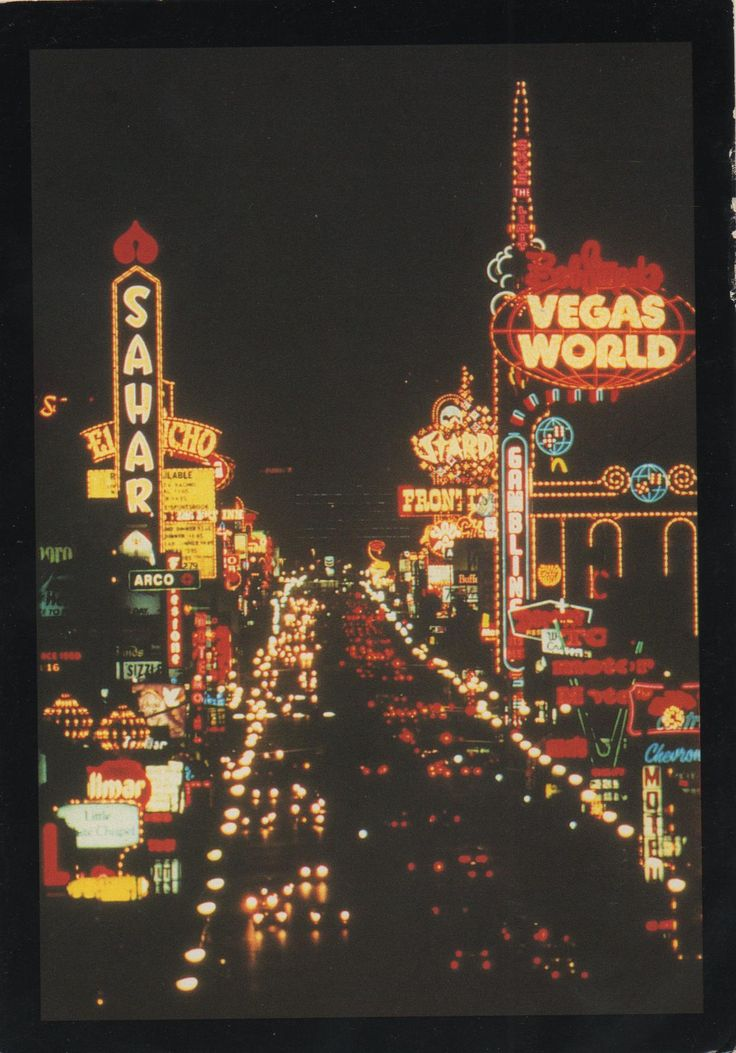 Old Las Vegas Postcard - a unique view of the vintage neon hotel signs on the north end of the Strip...The Sahara, The El Rancho, Bob Stupak's Vegas World, The Stardust, The Frontier