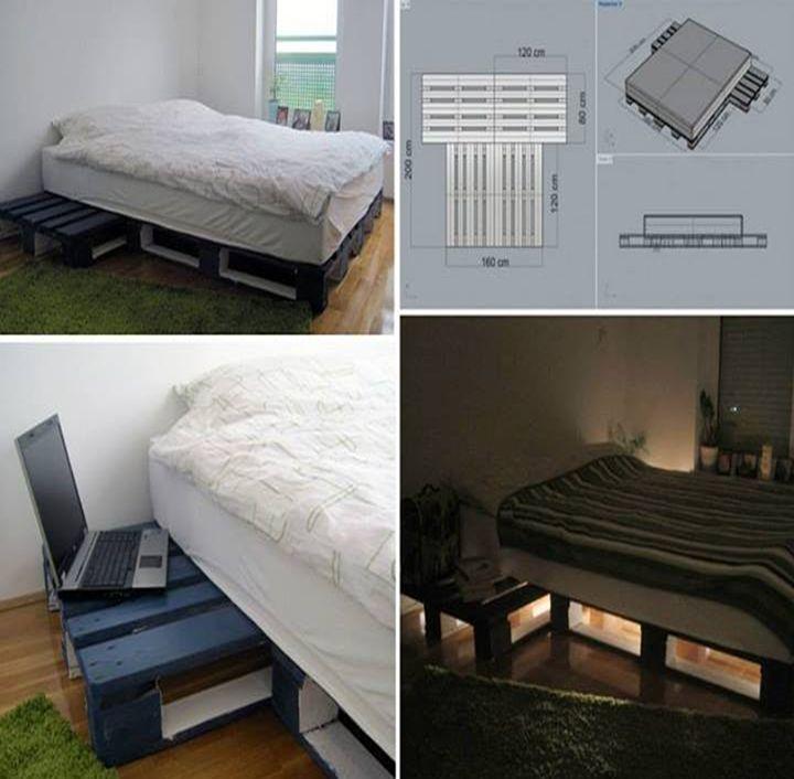 Como hacer una cama con palets de madera recicla palets for Como hacer una cama alta de madera