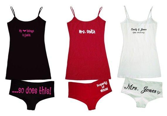Custom Personalized cami set underwear lingerie undies Valentine's Gift. $23.99, via Etsy.