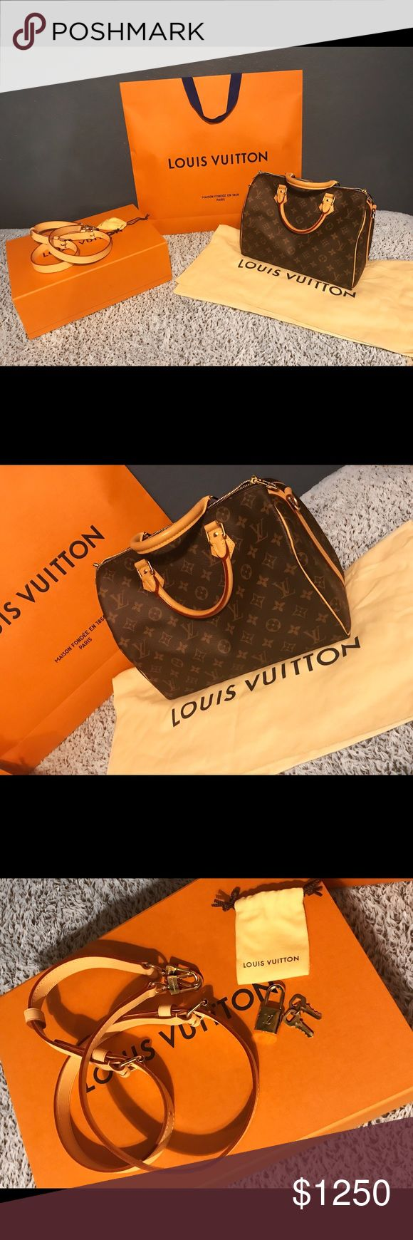 LOUIS VUITTON SPEEDY BANDOULIERE 30 lightly used, pretty much brand new purchased about 2-3 months ago - comes with original LV store bag, box & dust bag as well as the included strap and lock + keys. 100% authentic Louis Vuitton! (ORIG PRICE: $1,400.00) Louis Vuitton Bags