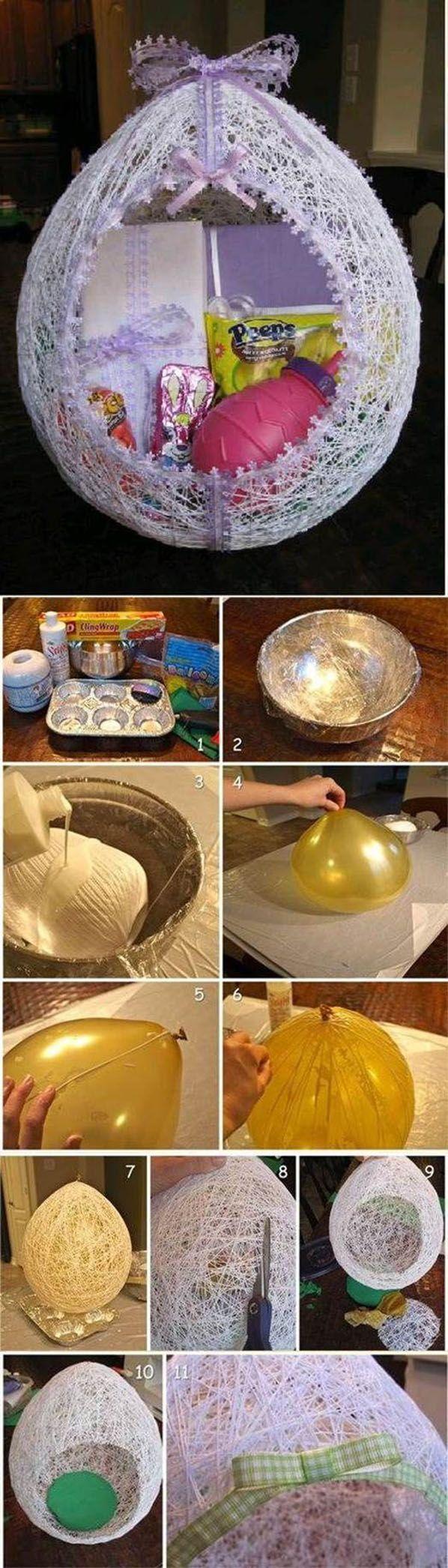 Huevo con hilo con globo y cola vinilica/plasticola