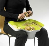 Lap Counter by Tomas Kral. Apparently just a concept, this lap bowl and counter lets you work on chopping and prepping food even while seated. This could be a real practical help for those with disabilities or those who cannot stand at the counter for long periods of time. Totally in love with the concept.