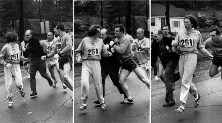 Katherine Switzer. She was able to enter the male-only Boston Marathon using her first initial. The race director tried to yank her off the course but her huge boyfriend took care of the problem and she finished although her time wasn't official.