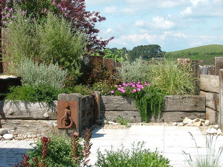 sea-side garden with reclaimed sea washed timber